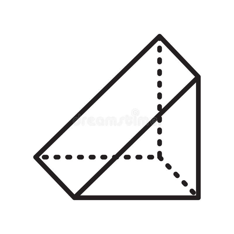 Знак и символ вектора значка призмы изолированные на белой предпосылке иллюстрация вектора