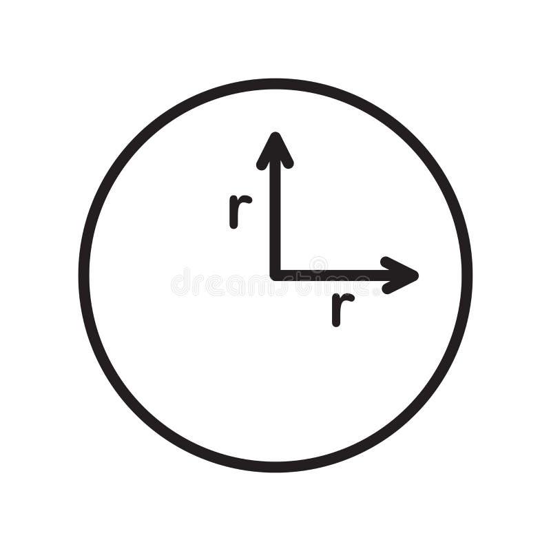 Знак и символ вектора значка радиуса изолированные на белой предпосылке иллюстрация вектора