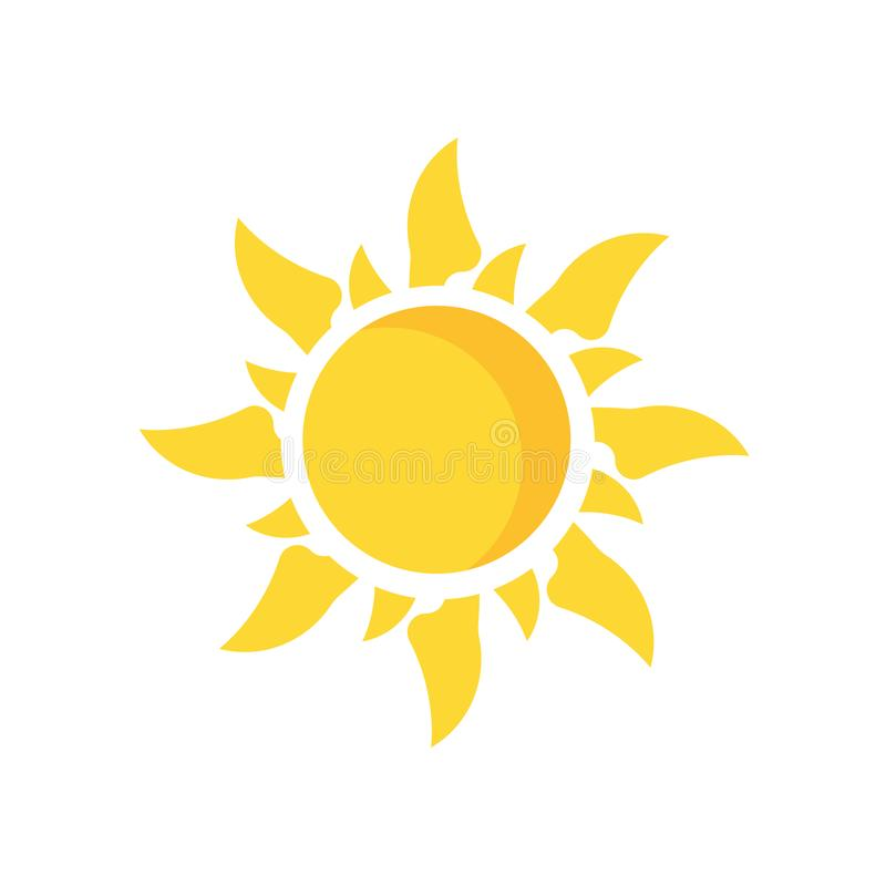 Знак и символ вектора значка Солнця изолированные на белой предпосылке, Su бесплатная иллюстрация