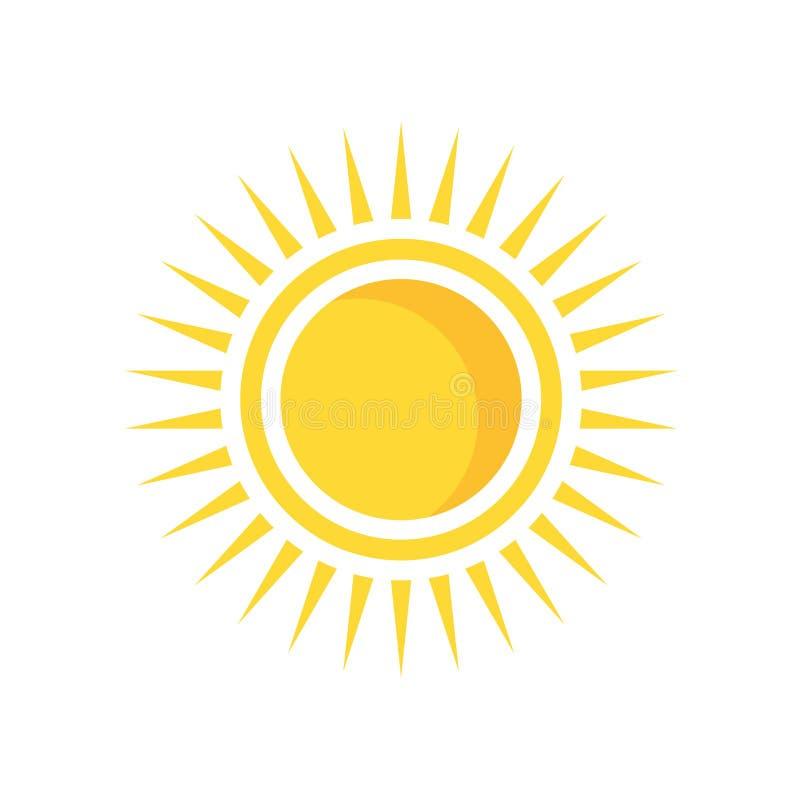Знак и символ вектора значка Солнця изолированные на белой предпосылке, Su иллюстрация вектора