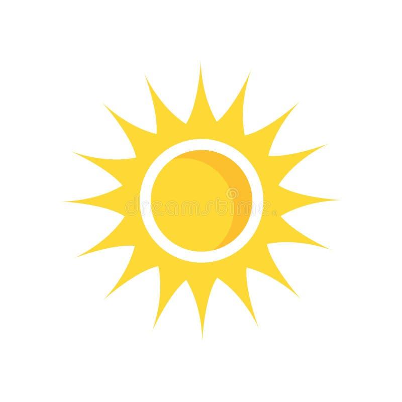 Знак и символ вектора значка Солнця изолированные на белой предпосылке, Su иллюстрация штока