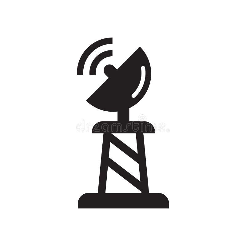 Знак и символ вектора значка спутниковой антенна-тарелки изолированные на белом bac иллюстрация вектора