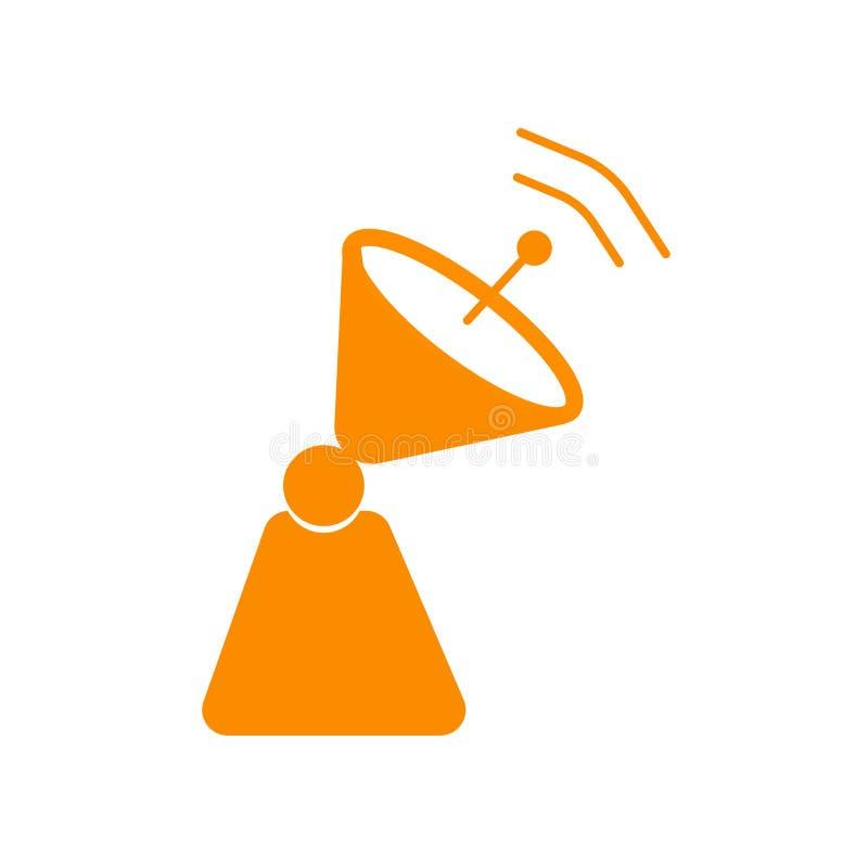 Знак и символ вектора значка спутниковой антенна-тарелки изолированные на белой предпосылке, концепции логотипа спутниковой антен бесплатная иллюстрация