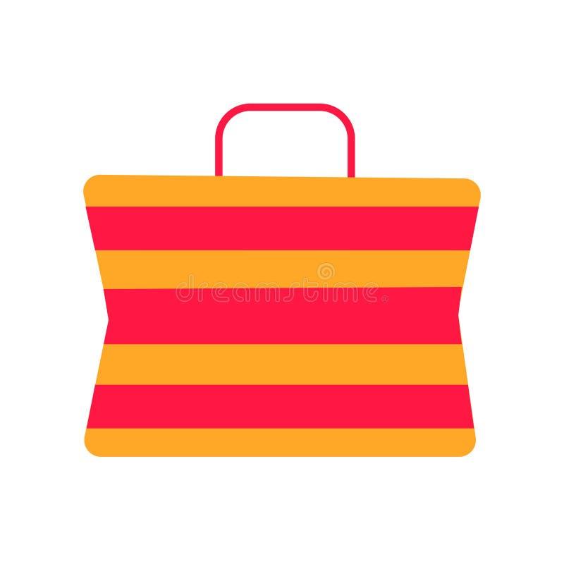 Знак и символ вектора значка сумки пляжа изолированные на белой предпосылке, концепции логотипа сумки пляжа бесплатная иллюстрация