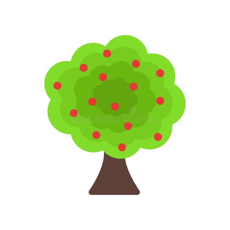 Знак и символ вектора значка фруктового дерева изолированные на белом backgro бесплатная иллюстрация