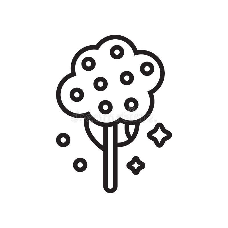 Знак и символ вектора значка фруктового дерев дерева изолированные на белой предпосылке, концепции логотипа фруктового дерев дере бесплатная иллюстрация