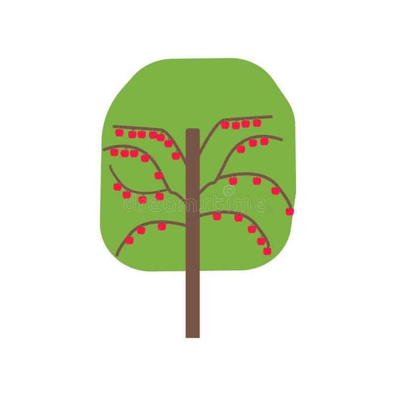 Знак и символ вектора значка фруктового дерев дерева изолированные на белой предпосылке, концепции логотипа фруктового дерев дере иллюстрация вектора