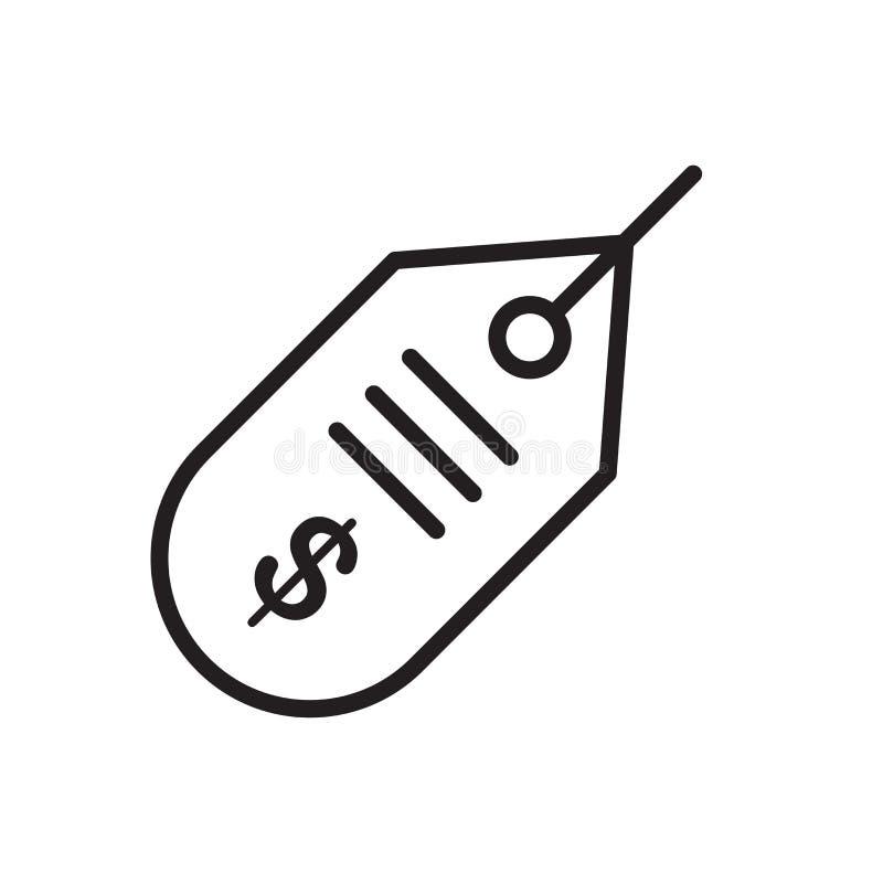 Знак и символ вектора значка ценника изолированные на белом backgrou иллюстрация штока