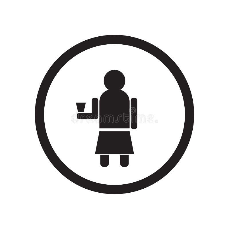 Знак и символ вектора значка чашки удерживания женщины изолированные на белой предпосылке, концепции логотипа чашки удерживания ж бесплатная иллюстрация