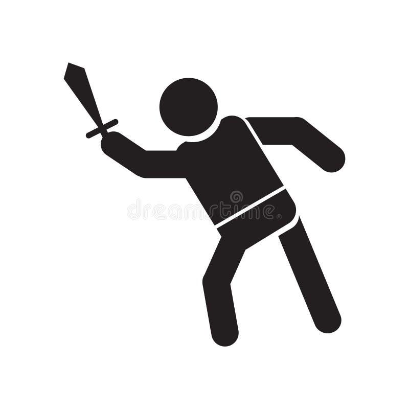 Знак и символ вектора значка человека атакуя изолированные на белой предпосылке, концепции логотипа человека атакуя иллюстрация вектора