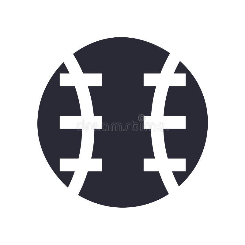 Знак и символ вектора значка шарика бейсбола изолированные на белой предпосылке, концепции логотипа шарика бейсбола бесплатная иллюстрация