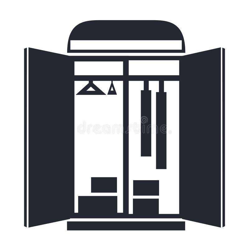 Знак и символ вектора значка шкафа изолированные на белом backgroun бесплатная иллюстрация