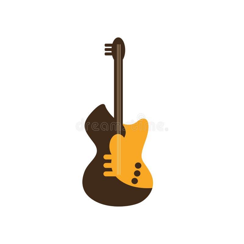 Знак и символ вектора значка электрической гитары изолированные на белом ба бесплатная иллюстрация
