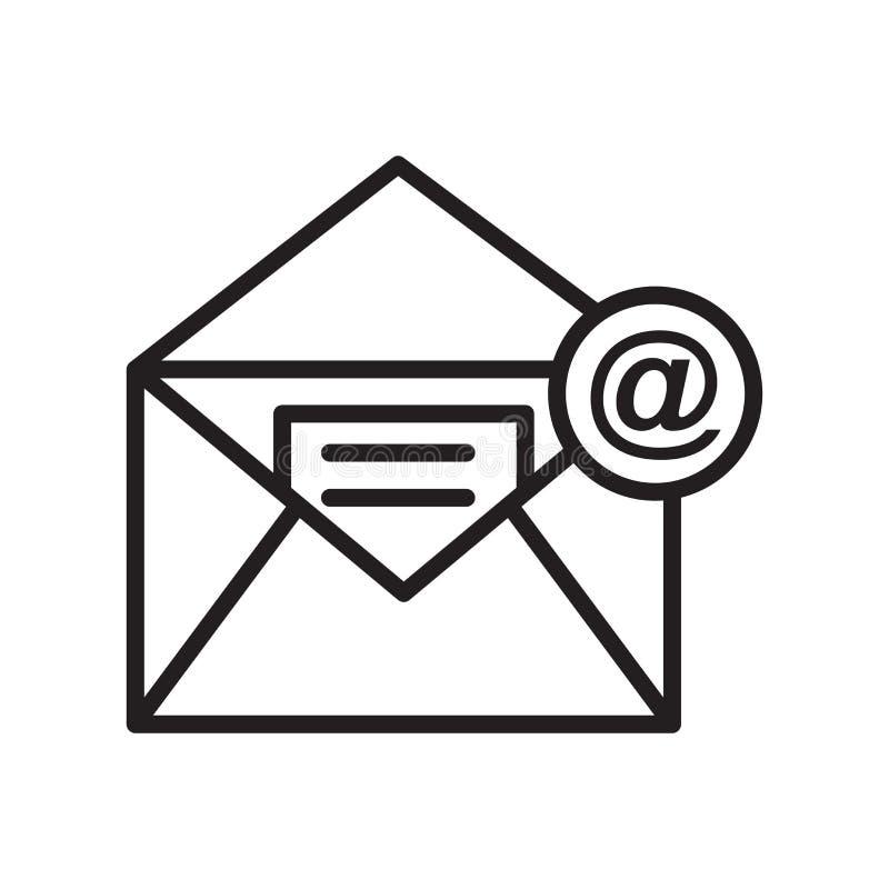 Знак и символ вектора значка электронной почты изолированные на белой предпосылке иллюстрация вектора