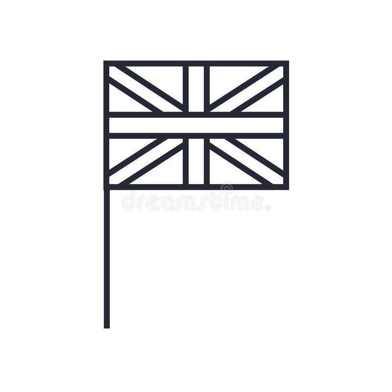 Знак и символ вектора значка Юниона Джек изолированные на белой предпосылке, концепции логотипа Юниона Джек иллюстрация штока