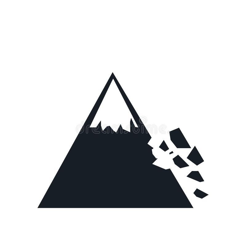 Знак и символ вектора значка Colapse горы изолированные на белой предпосылке, концепции логотипа Colapse горы иллюстрация штока