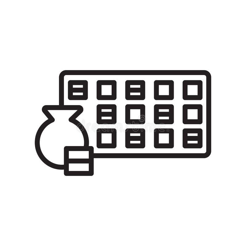Знак и символ вектора значка Loto изолированные на белой предпосылке иллюстрация вектора