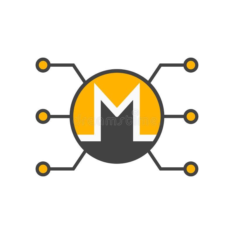 Знак и символ вектора значка Monero изолированные на белой предпосылке, концепции логотипа Monero иллюстрация штока