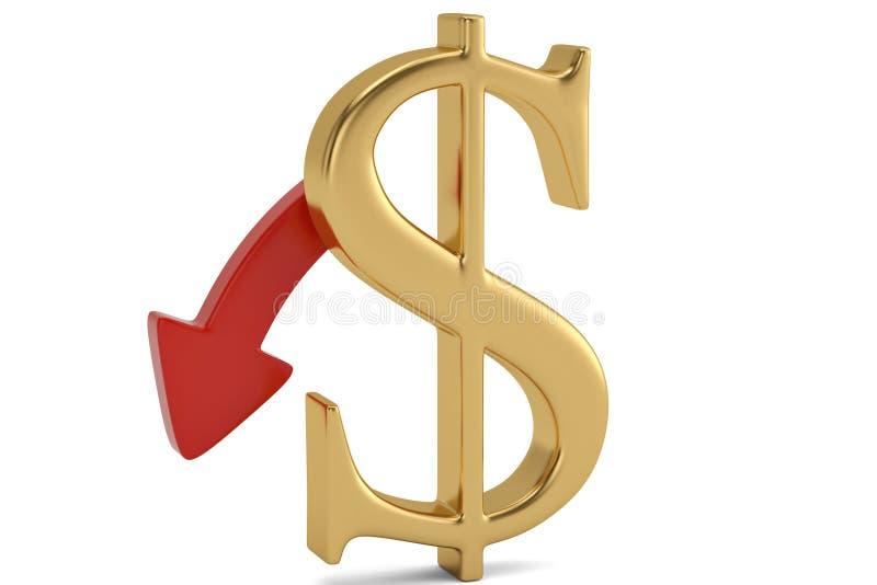Знак и стрелка доллара изолированные на белой предпосылке illustrat 3d бесплатная иллюстрация
