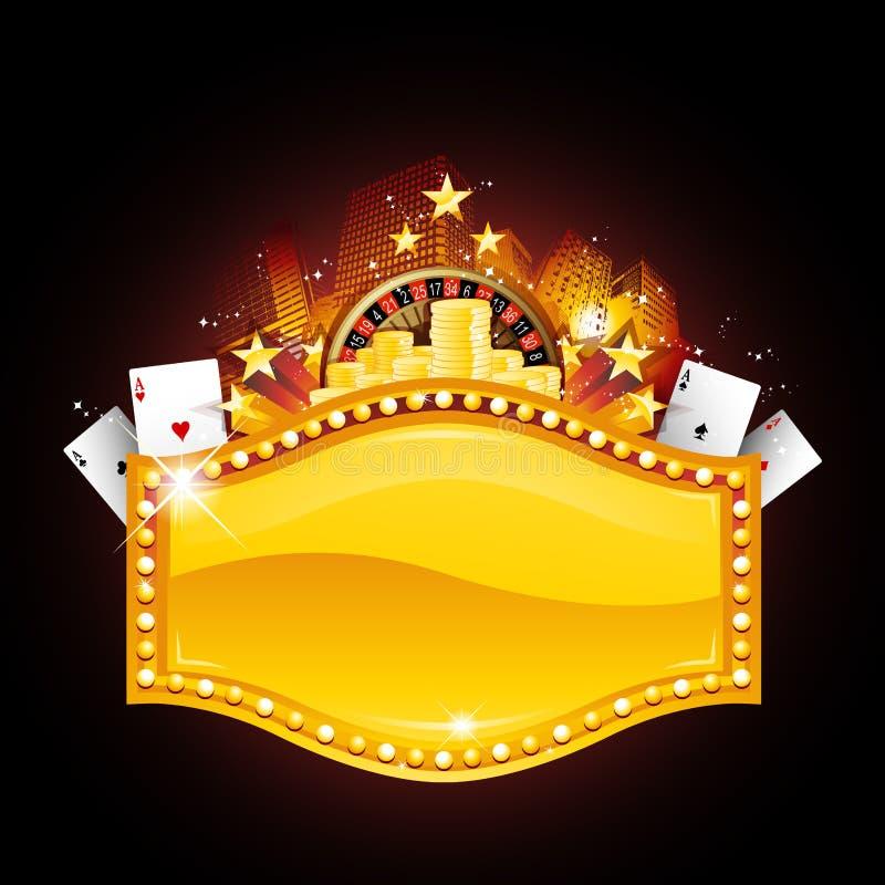 знак казино золотистый иллюстрация штока