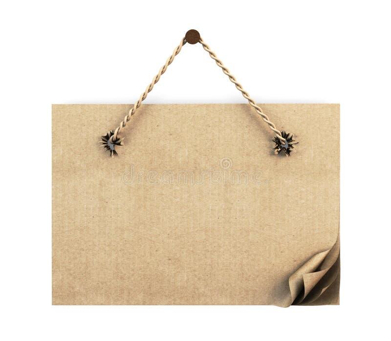 Знак картона с веревочкой на белизне 3d бесплатная иллюстрация