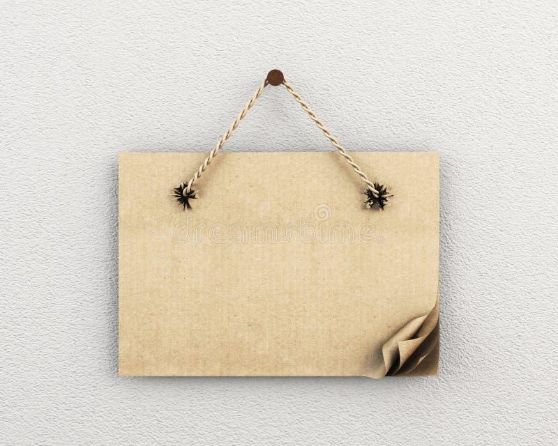 Знак картона с клочковатыми отверстиями на стене иллюстрация вектора