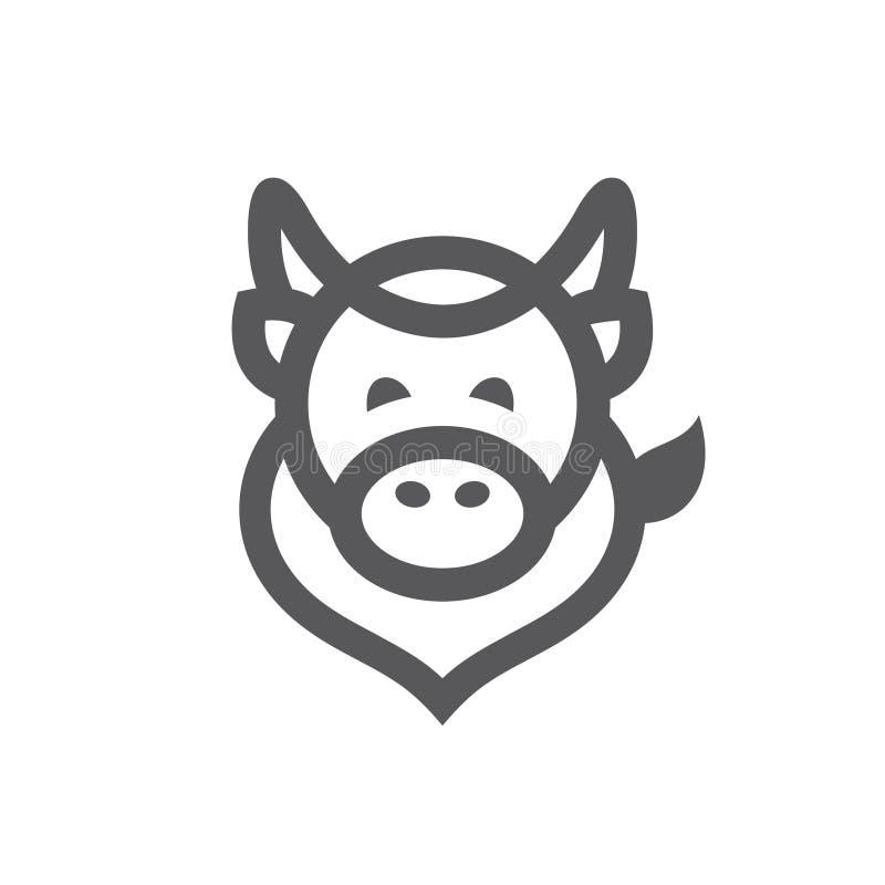 Знак коровы простой иллюстрация штока