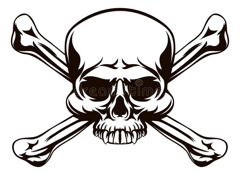 Знак косточек черепа и креста иллюстрация штока