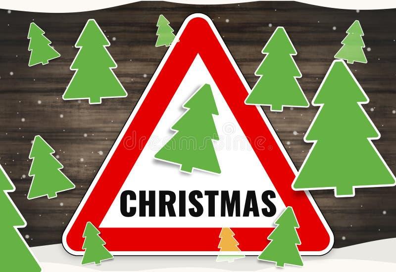 Знак красного цвета зимы рождества иллюстрация вектора