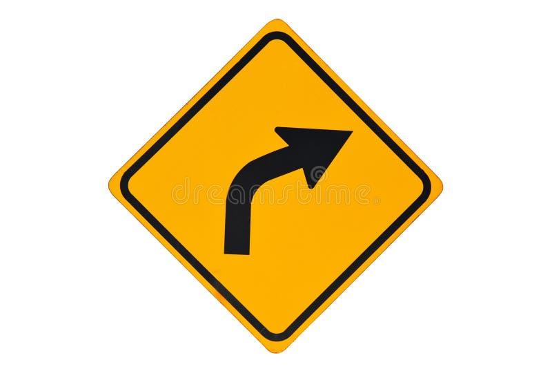 знак кривого правый к стоковая фотография