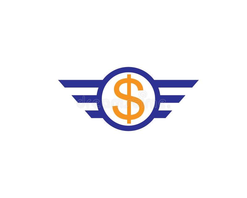 Знак летая доллара с изолированной крыльями иллюстрацией вектора иллюстрация вектора