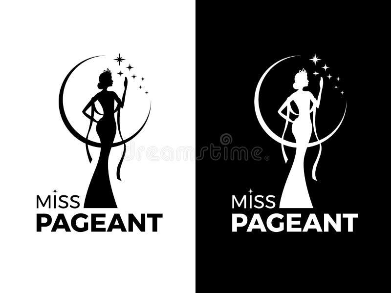 Знак логотипа торжества дамы госпожи с ферзем носит дизайн вектора мантии вечера и кроны и звезды иллюстрация вектора