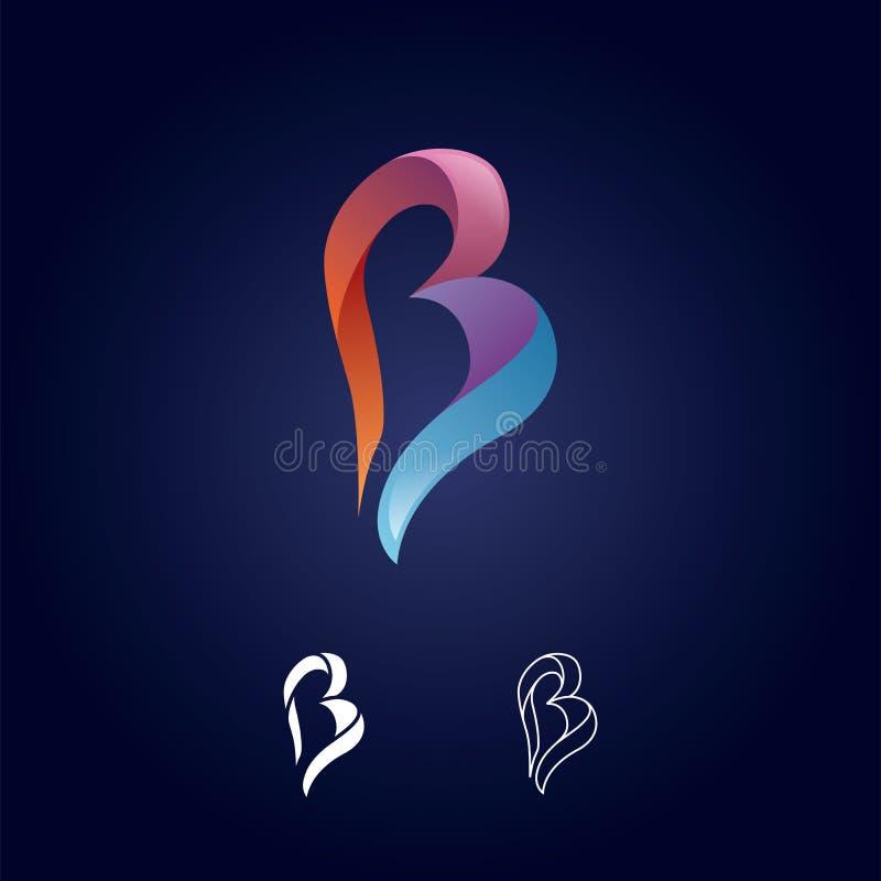 Знак логотипа b письма Бумажный материальный дизайн, квартира и линия стиль - вектор стоковая фотография