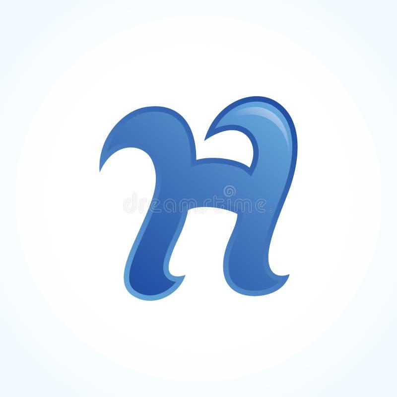 Знак логотипа h письма, голубой материальный дизайн, вектор стоковые изображения