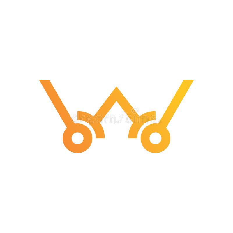 Знак логотипа w письма материальный дизайн, линия стиль - вектор стоковые изображения rf