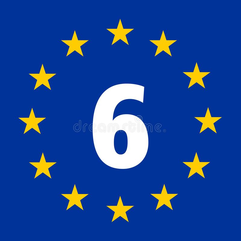 Знак маршрута 6 EuroVelo, Атлантика маршрут Чёрного моря иллюстрация вектора
