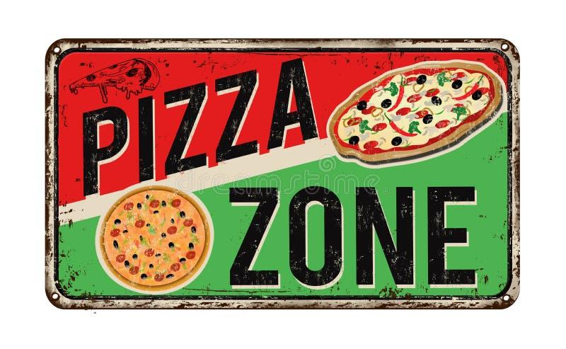 Знак металла зоны пиццы винтажный ржавый иллюстрация вектора