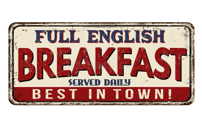 Знак металла польностью английского завтрака винтажный ржавый иллюстрация штока