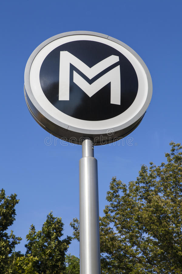 Знак метро Будапешта стоковые фотографии rf