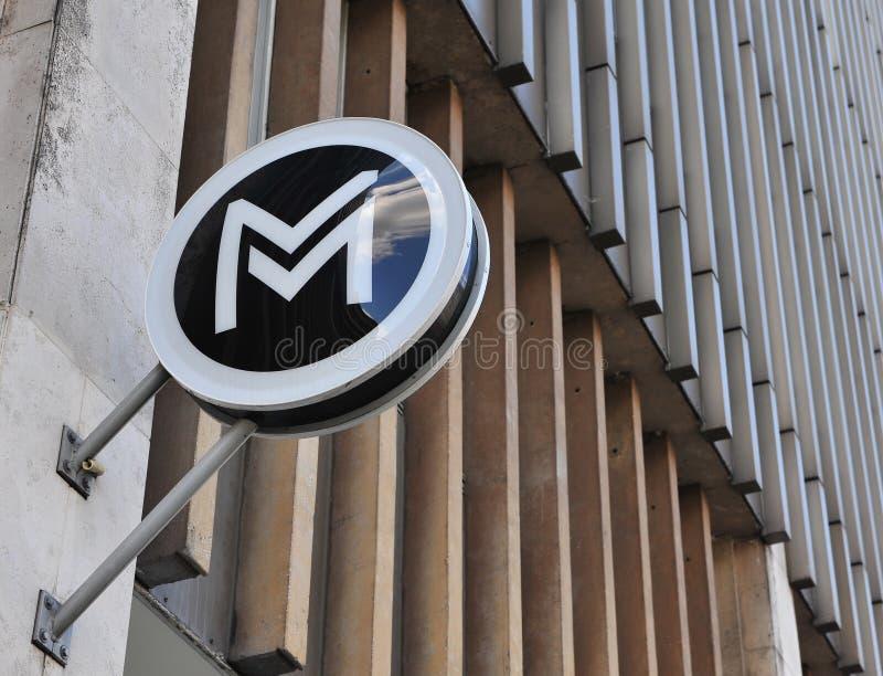 Знак метро города Будапешта стоковые фотографии rf