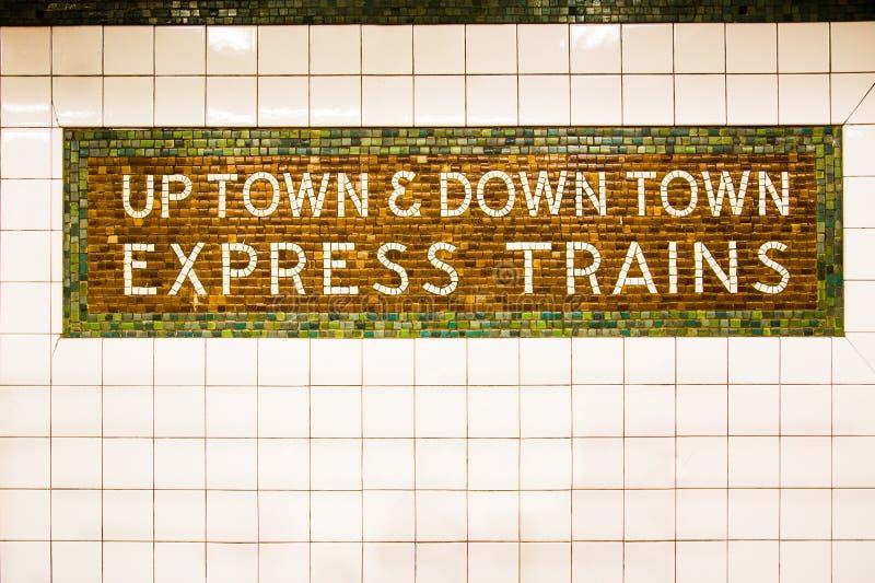 Знак метро NYC стоковое изображение rf