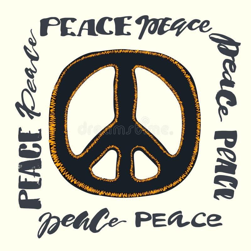 Знак мира Яркая вышивка и letteringing иллюстрация вектора
