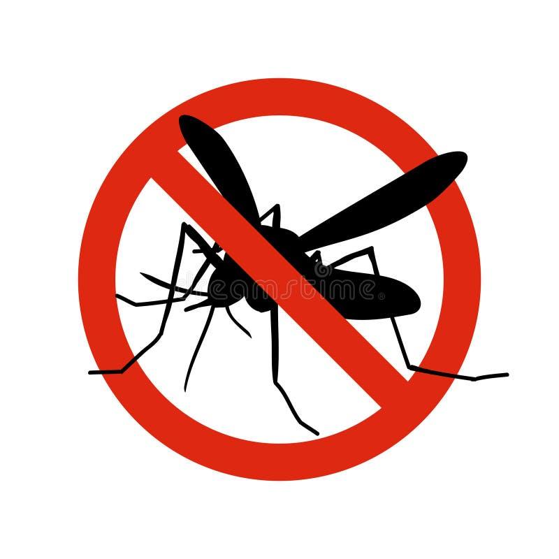 Знак москита запрещенный предупреждением Анти- москиты, символ вектора управлением насекомого иллюстрация вектора