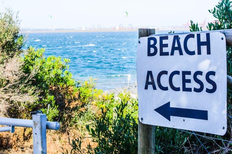 Знак направления для доступа пляжа на Сиднее, Австралии стоковая фотография