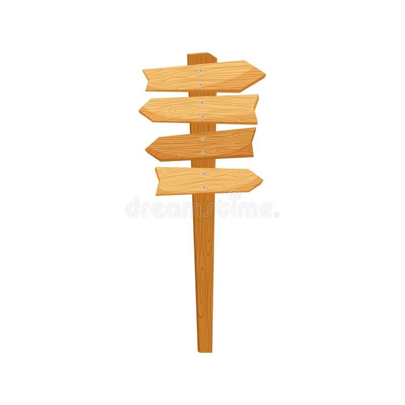 Знак направления пути деревянный иллюстрация штока