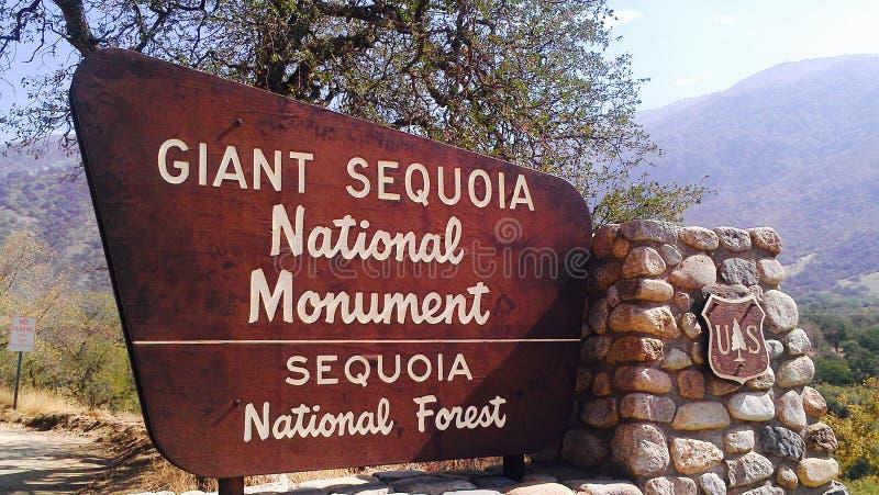 Знак национального леса гигантской секвойи стоковое фото
