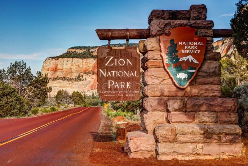Знак национального парка Сиона стоковые фотографии rf