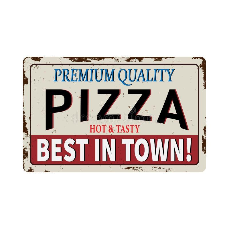 Знак на белой предпосылке, иллюстрация металла пиццы красный винтажный ржавый вектора иллюстрация штока