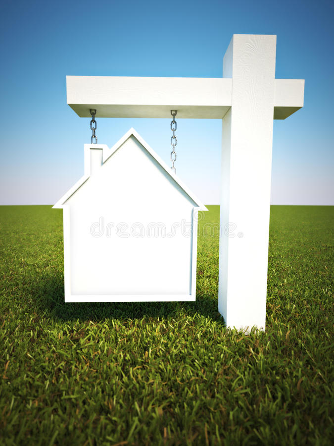 Знак недвижимости в форме дома с предпосылкой неба и комнаты для космоса текста или экземпляра иллюстрация штока