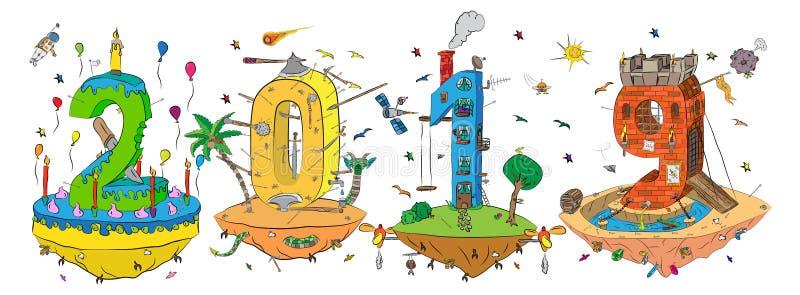 Знак 2019 Новых Годов в стиле абстрактного сюрреалистического мультфильма рисуя с тортом, замок, дом и цель 3D формируют красочны бесплатная иллюстрация